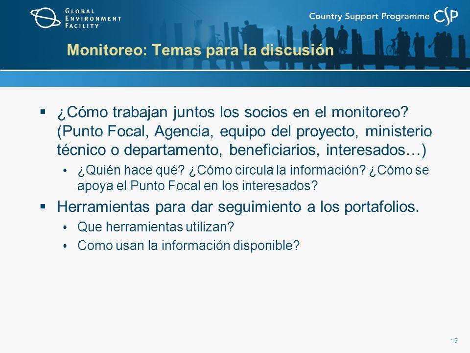13 Monitoreo: Temas para la discusión ¿Cómo trabajan juntos los socios en el monitoreo? (Punto Focal, Agencia, equipo del proyecto, ministerio técnico
