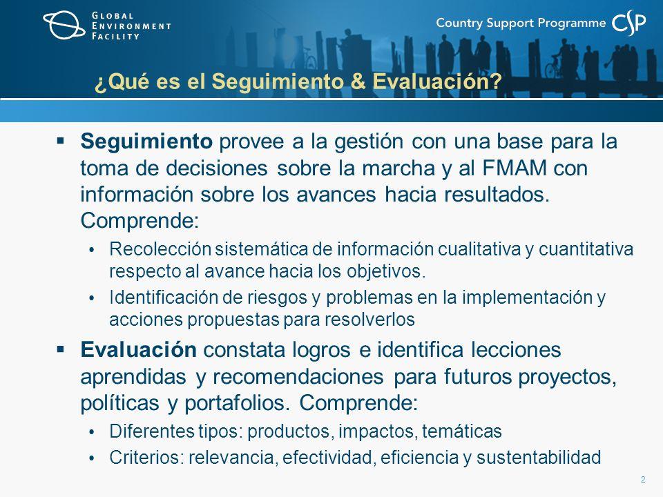 2 ¿Qué es el Seguimiento & Evaluación? Seguimiento provee a la gestión con una base para la toma de decisiones sobre la marcha y al FMAM con informaci