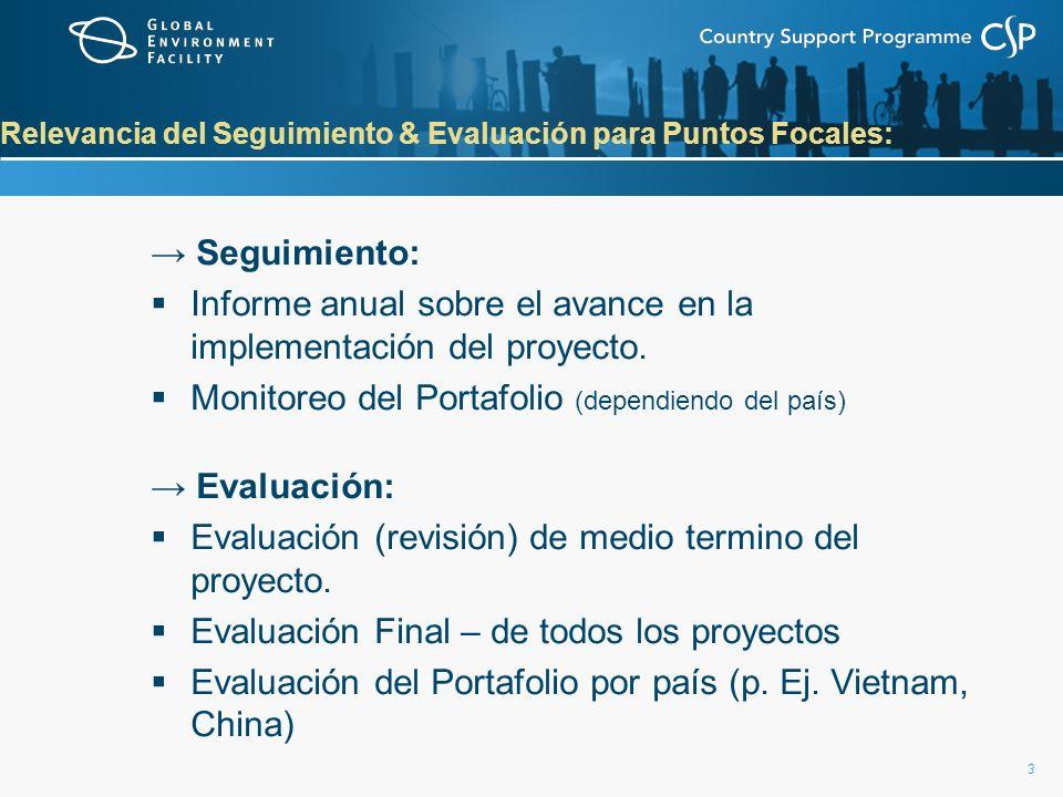 3 Relevancia del Seguimiento & Evaluación para Puntos Focales: Seguimiento: Informe anual sobre el avance en la implementación del proyecto. Monitoreo