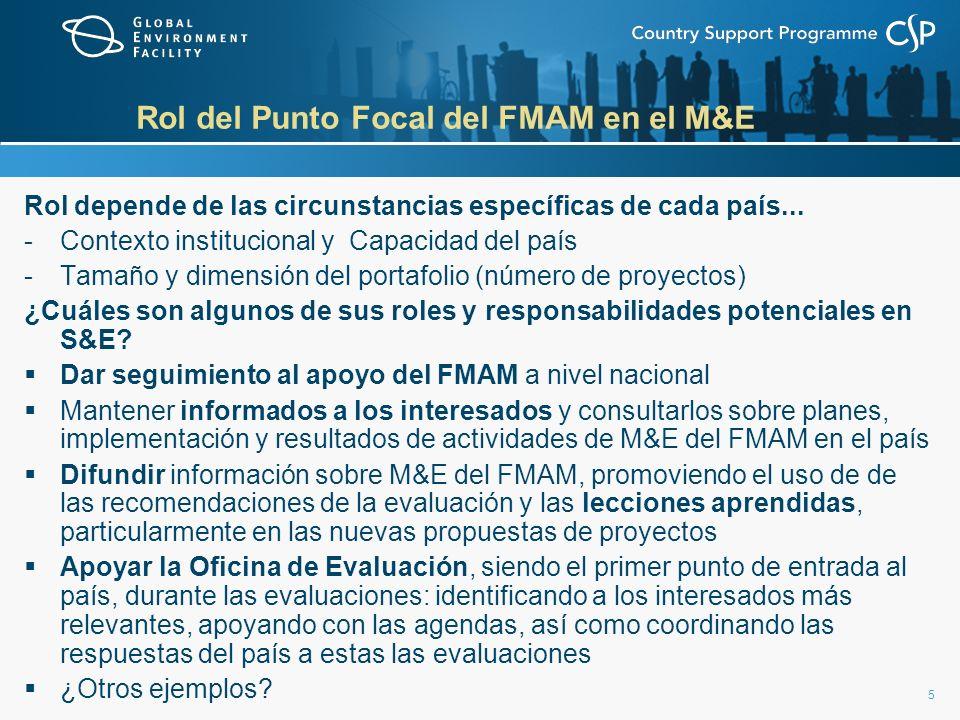 5 Rol del Punto Focal del FMAM en el M&E Rol depende de las circunstancias específicas de cada país... -Contexto institucional y Capacidad del país -T