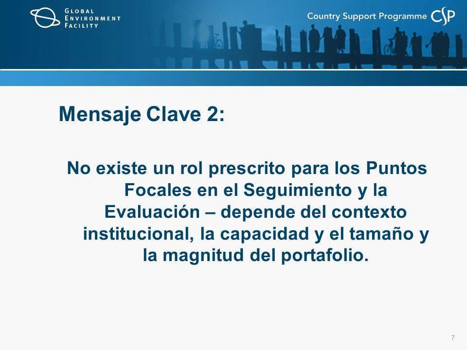 7 Mensaje Clave 2: No existe un rol prescrito para los Puntos Focales en el Seguimiento y la Evaluación – depende del contexto institucional, la capac