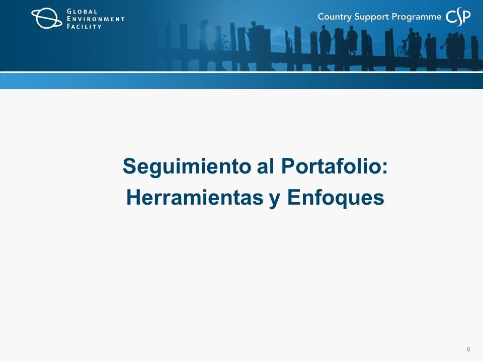 9 Seguimiento al Portafolio: herramientas y enfoques S&E del portafolio: Crear un sistema de seguimiento simple para los proyectos del FMAM (ver próxima lámina).