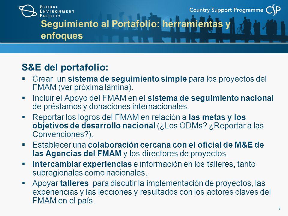 9 Seguimiento al Portafolio: herramientas y enfoques S&E del portafolio: Crear un sistema de seguimiento simple para los proyectos del FMAM (ver próxi