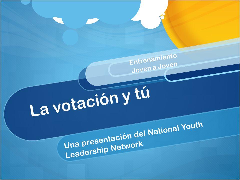 Una presentación del National Youth Leadership Network La votación y tú Entrenamiento Joven a Joven