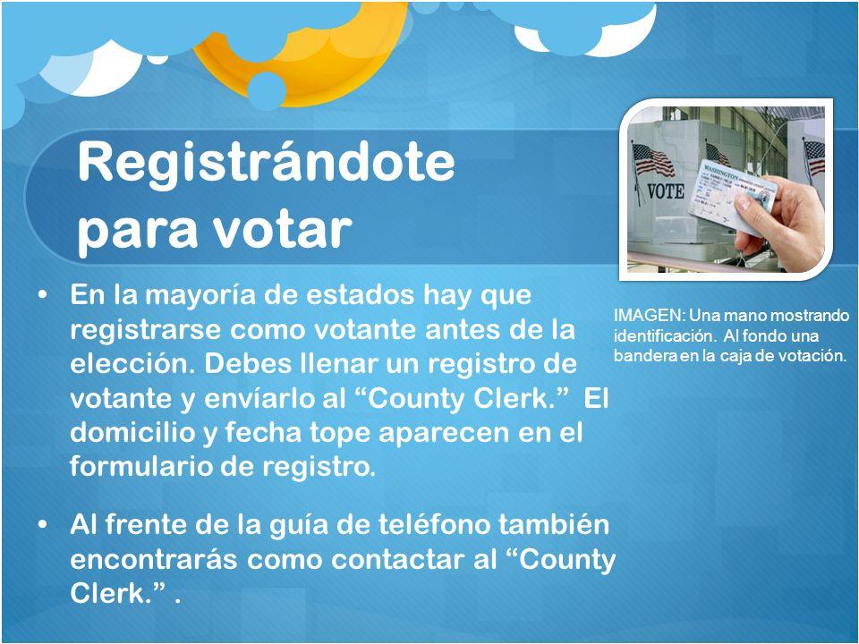 Registrándote para votar En la mayoría de estados hay que registrarse como votante antes de la elección. Debes llenar un registro de votante y envíarl