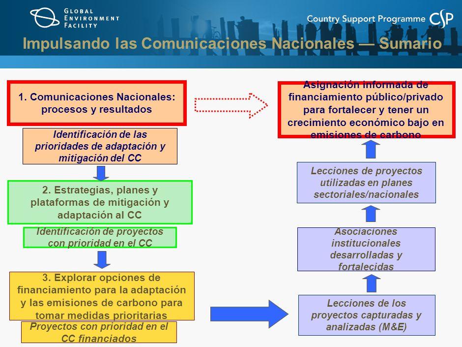 1. Comunicaciones Nacionales: procesos y resultados Identificación de las prioridades de adaptación y mitigación del CC 2. Estrategias, planes y plata