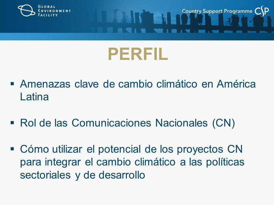 PERFIL Amenazas clave de cambio climático en América Latina Rol de las Comunicaciones Nacionales (CN) Cómo utilizar el potencial de los proyectos CN para integrar el cambio climático a las políticas sectoriales y de desarrollo