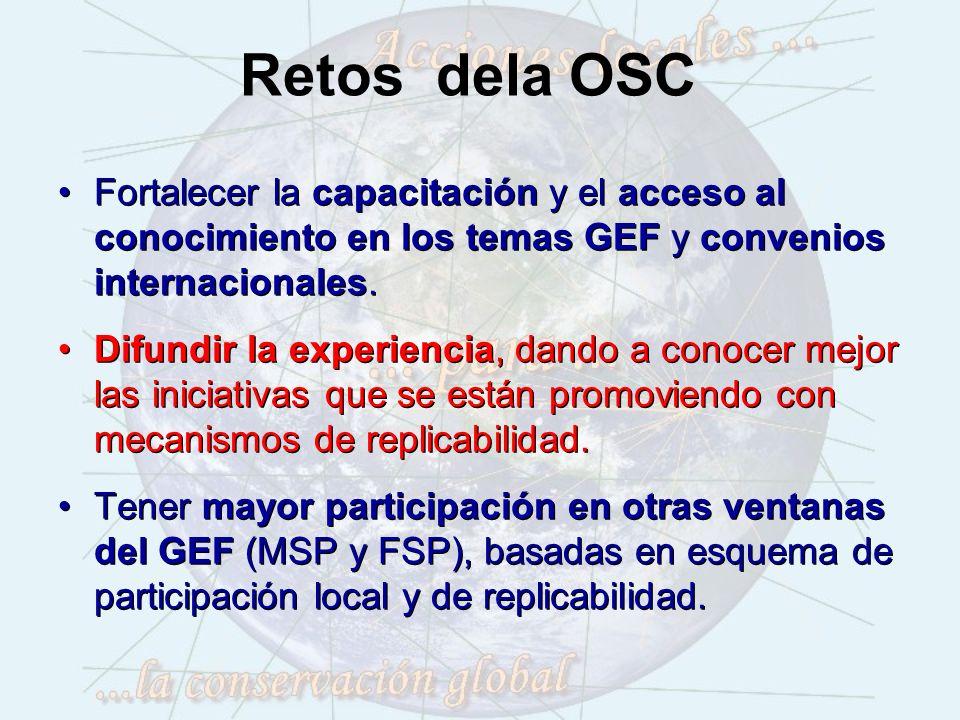 Retos dela OSC Fortalecer la capacitación y el acceso al conocimiento en los temas GEF y convenios internacionales.