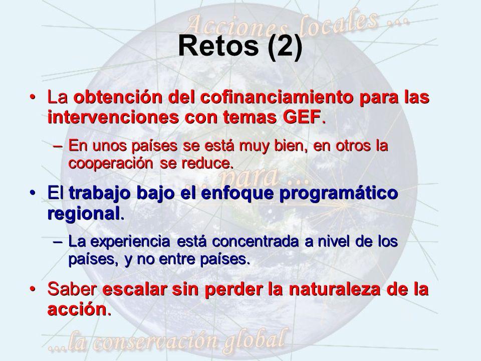 Retos (2) La obtención del cofinanciamiento para las intervenciones con temas GEF.