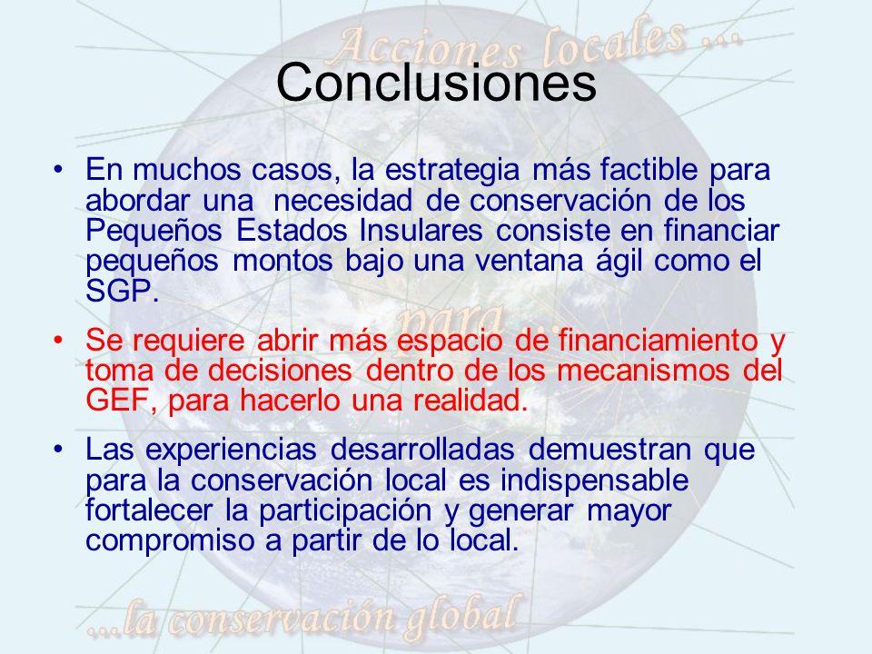 Conclusiones En muchos casos, la estrategia más factible para abordar una necesidad de conservación de los Pequeños Estados Insulares consiste en financiar pequeños montos bajo una ventana ágil como el SGP.