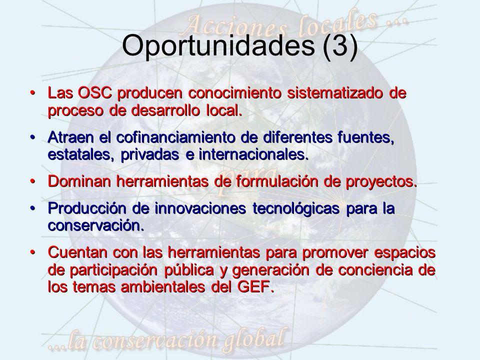 Oportunidades (3) Las OSC producen conocimiento sistematizado de proceso de desarrollo local.