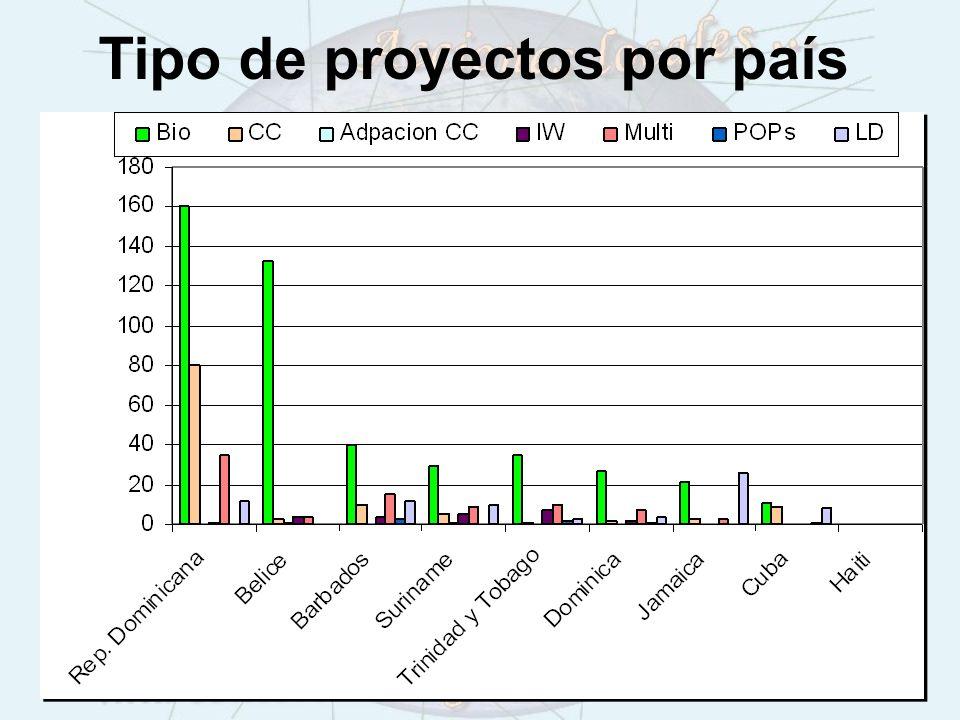 Tipo de proyectos por país