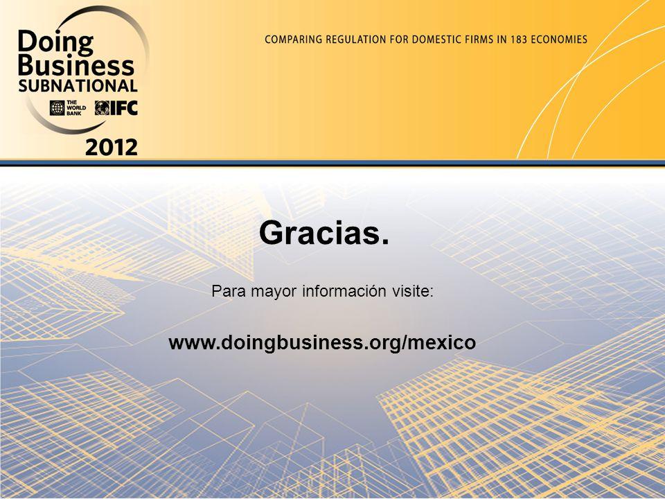 Gracias. Para mayor información visite: www.doingbusiness.org/mexico