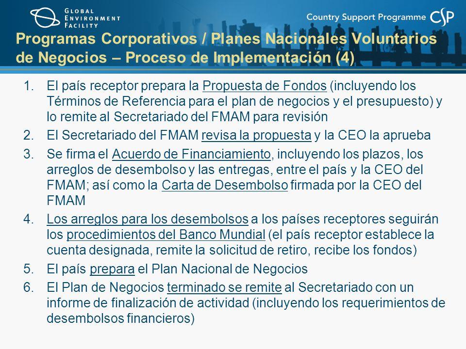 Programas Corporativos / Planes Nacionales Voluntarios de Negocios – Proceso de Implementación (4) 1.El país receptor prepara la Propuesta de Fondos (incluyendo los Términos de Referencia para el plan de negocios y el presupuesto) y lo remite al Secretariado del FMAM para revisión 2.El Secretariado del FMAM revisa la propuesta y la CEO la aprueba 3.Se firma el Acuerdo de Financiamiento, incluyendo los plazos, los arreglos de desembolso y las entregas, entre el país y la CEO del FMAM; así como la Carta de Desembolso firmada por la CEO del FMAM 4.Los arreglos para los desembolsos a los países receptores seguirán los procedimientos del Banco Mundial (el país receptor establece la cuenta designada, remite la solicitud de retiro, recibe los fondos) 5.El país prepara el Plan Nacional de Negocios 6.El Plan de Negocios terminado se remite al Secretariado con un informe de finalización de actividad (incluyendo los requerimientos de desembolsos financieros)