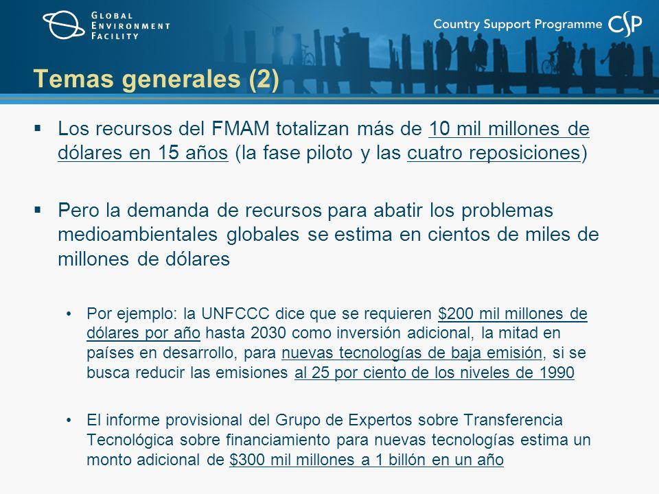 Temas generales (2) Los recursos del FMAM totalizan más de 10 mil millones de dólares en 15 años (la fase piloto y las cuatro reposiciones) Pero la demanda de recursos para abatir los problemas medioambientales globales se estima en cientos de miles de millones de dólares Por ejemplo: la UNFCCC dice que se requieren $200 mil millones de dólares por año hasta 2030 como inversión adicional, la mitad en países en desarrollo, para nuevas tecnologías de baja emisión, si se busca reducir las emisiones al 25 por ciento de los niveles de 1990 El informe provisional del Grupo de Expertos sobre Transferencia Tecnológica sobre financiamiento para nuevas tecnologías estima un monto adicional de $300 mil millones a 1 billón en un año