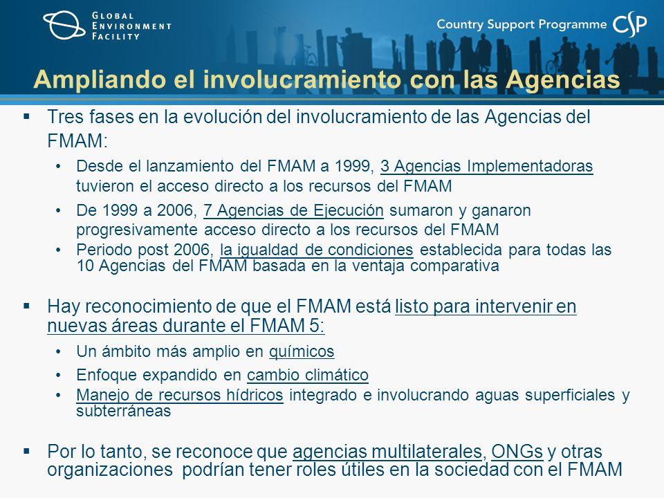 Ampliando el involucramiento con las Agencias Tres fases en la evolución del involucramiento de las Agencias del FMAM: Desde el lanzamiento del FMAM a 1999, 3 Agencias Implementadoras tuvieron el acceso directo a los recursos del FMAM De 1999 a 2006, 7 Agencias de Ejecución sumaron y ganaron progresivamente acceso directo a los recursos del FMAM Periodo post 2006, la igualdad de condiciones establecida para todas las 10 Agencias del FMAM basada en la ventaja comparativa Hay reconocimiento de que el FMAM está listo para intervenir en nuevas áreas durante el FMAM 5: Un ámbito más amplio en químicos Enfoque expandido en cambio climático Manejo de recursos hídricos integrado e involucrando aguas superficiales y subterráneas Por lo tanto, se reconoce que agencias multilaterales, ONGs y otras organizaciones podrían tener roles útiles en la sociedad con el FMAM