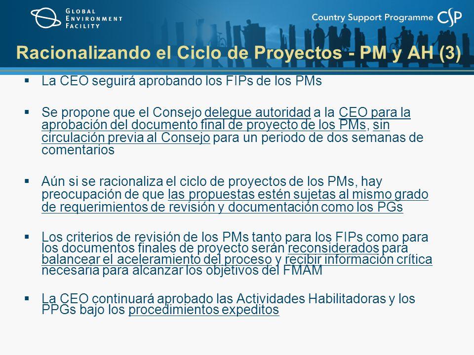 Racionalizando el Ciclo de Proyectos - PM y AH (3) La CEO seguirá aprobando los FIPs de los PMs Se propone que el Consejo delegue autoridad a la CEO para la aprobación del documento final de proyecto de los PMs, sin circulación previa al Consejo para un periodo de dos semanas de comentarios Aún si se racionaliza el ciclo de proyectos de los PMs, hay preocupación de que las propuestas estén sujetas al mismo grado de requerimientos de revisión y documentación como los PGs Los criterios de revisión de los PMs tanto para los FIPs como para los documentos finales de proyecto serán reconsiderados para balancear el aceleramiento del proceso y recibir información crítica necesaria para alcanzar los objetivos del FMAM La CEO continuará aprobado las Actividades Habilitadoras y los PPGs bajo los procedimientos expeditos