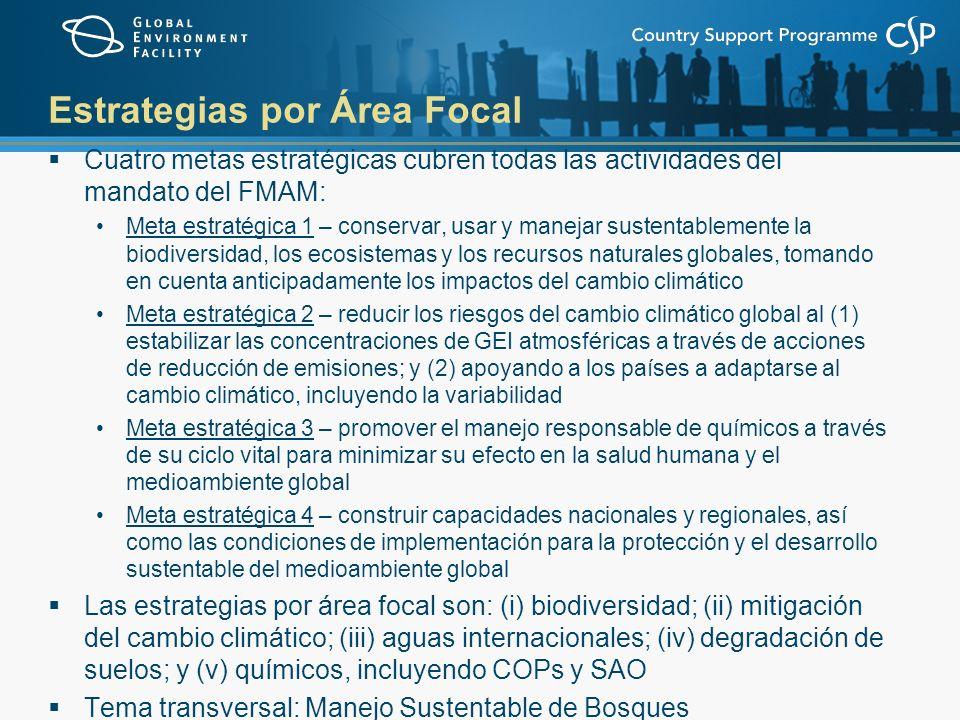 Biodiversidad La meta es la conservación y el uso sustentable de la biodiversidad y el mantenimiento de los servicios y los bienes del ecosistema Para alcanzar esta meta, la estrategia tiene cinco objetivos: mejorar la sustentabilidad de los sistemas de áreas protegidas incorporar la conservación y uso sustentable de la biodiversidad a los sectores y paisajes/marinas productivos construir la capacidad para implementar el Protocolo de Cartagena sobre Bioseguridad construir la capacidad sobre acceso a recursos genéticos y la distribución de sus beneficios integrar las obligaciones de la CBD en los procesos de planificación nacionales a través de las actividades habilitadoras