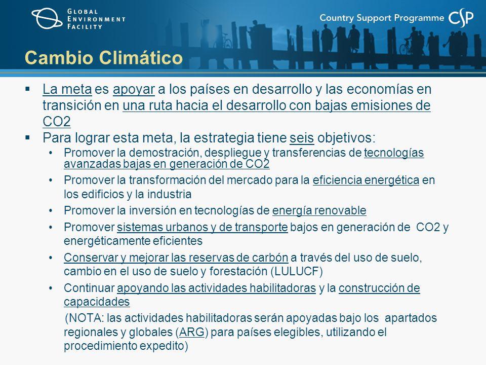Cambio Climático La meta es apoyar a los países en desarrollo y las economías en transición en una ruta hacia el desarrollo con bajas emisiones de CO2 Para lograr esta meta, la estrategia tiene seis objetivos: Promover la demostración, despliegue y transferencias de tecnologías avanzadas bajas en generación de CO2 Promover la transformación del mercado para la eficiencia energética en los edificios y la industria Promover la inversión en tecnologías de energía renovable Promover sistemas urbanos y de transporte bajos en generación de CO2 y energéticamente eficientes Conservar y mejorar las reservas de carbón a través del uso de suelo, cambio en el uso de suelo y forestación (LULUCF) Continuar apoyando las actividades habilitadoras y la construcción de capacidades (NOTA: las actividades habilitadoras serán apoyadas bajo los apartados regionales y globales (ARG) para países elegibles, utilizando el procedimiento expedito)