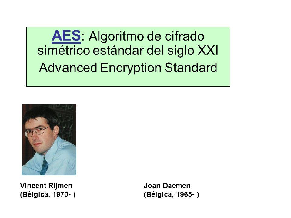 AES : Algoritmo de cifrado simétrico estándar del siglo XXI Advanced Encryption Standard Vincent Rijmen (Bélgica, 1970- ) Joan Daemen (Bélgica, 1965-
