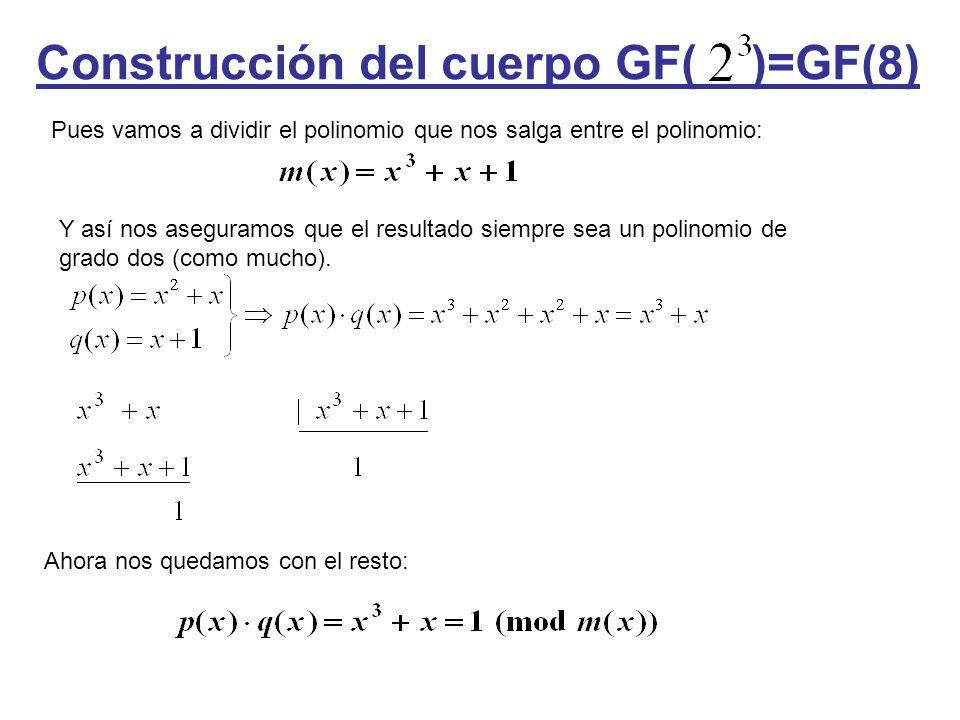 Construcción del cuerpo GF( )=GF(8) Pues vamos a dividir el polinomio que nos salga entre el polinomio: Y así nos aseguramos que el resultado siempre