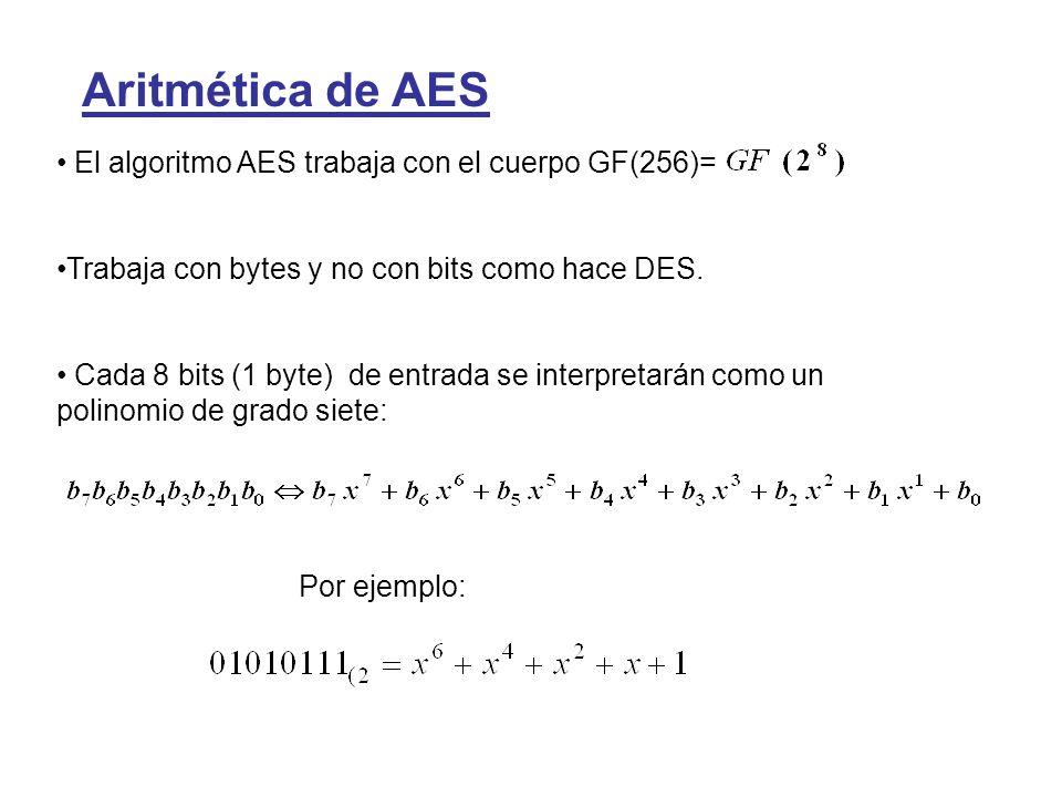 Aritmética de AES El algoritmo AES trabaja con el cuerpo GF(256)= Trabaja con bytes y no con bits como hace DES. Cada 8 bits (1 byte) de entrada se in