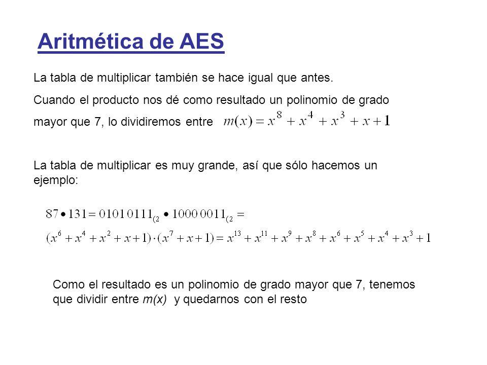 Aritmética de AES La tabla de multiplicar también se hace igual que antes. Cuando el producto nos dé como resultado un polinomio de grado mayor que 7,