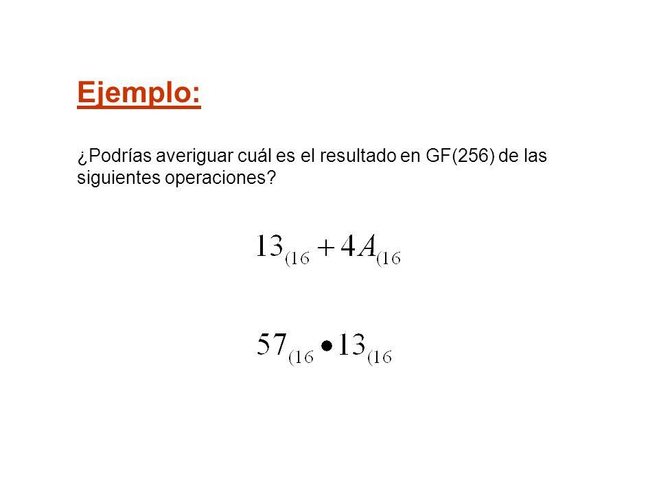 Ejemplo: ¿Podrías averiguar cuál es el resultado en GF(256) de las siguientes operaciones?