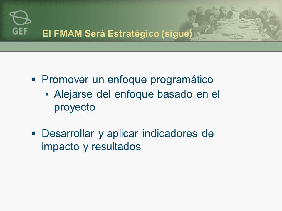 El FMAM Será Estratégico (sigue) Promover un enfoque programático Alejarse del enfoque basado en el proyecto Desarrollar y aplicar indicadores de impacto y resultados