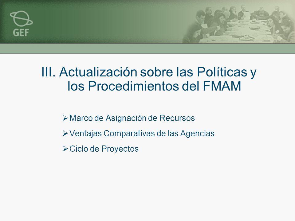 III. Actualización sobre las Políticas y los Procedimientos del FMAM Marco de Asignación de Recursos Ventajas Comparativas de las Agencias Ciclo de Pr