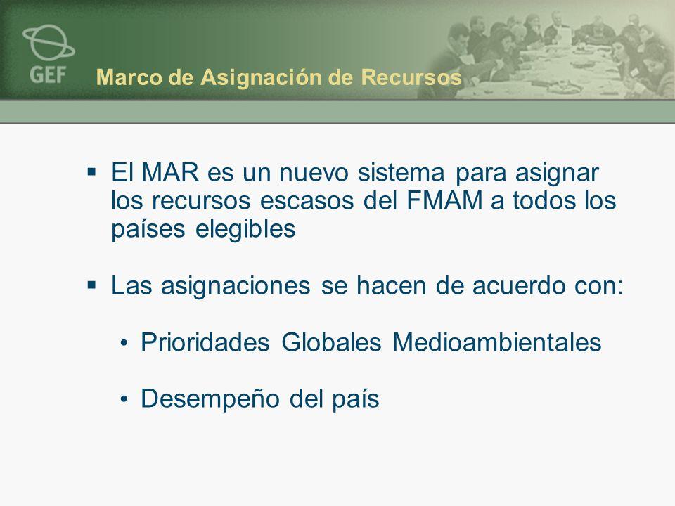 Marco de Asignación de Recursos El MAR es un nuevo sistema para asignar los recursos escasos del FMAM a todos los países elegibles Las asignaciones se hacen de acuerdo con: Prioridades Globales Medioambientales Desempeño del país