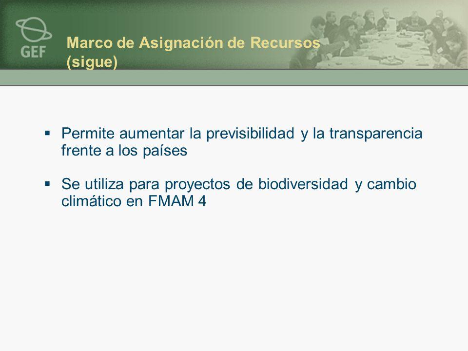 Marco de Asignación de Recursos (sigue) Permite aumentar la previsibilidad y la transparencia frente a los países Se utiliza para proyectos de biodiversidad y cambio climático en FMAM 4