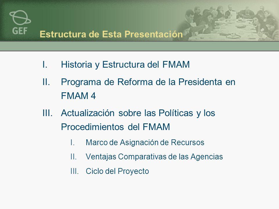 Estructura de Esta Presentación I.Historia y Estructura del FMAM II.Programa de Reforma de la Presidenta en FMAM 4 III.Actualización sobre las Políticas y los Procedimientos del FMAM I.Marco de Asignación de Recursos II.Ventajas Comparativas de las Agencias III.Ciclo del Proyecto