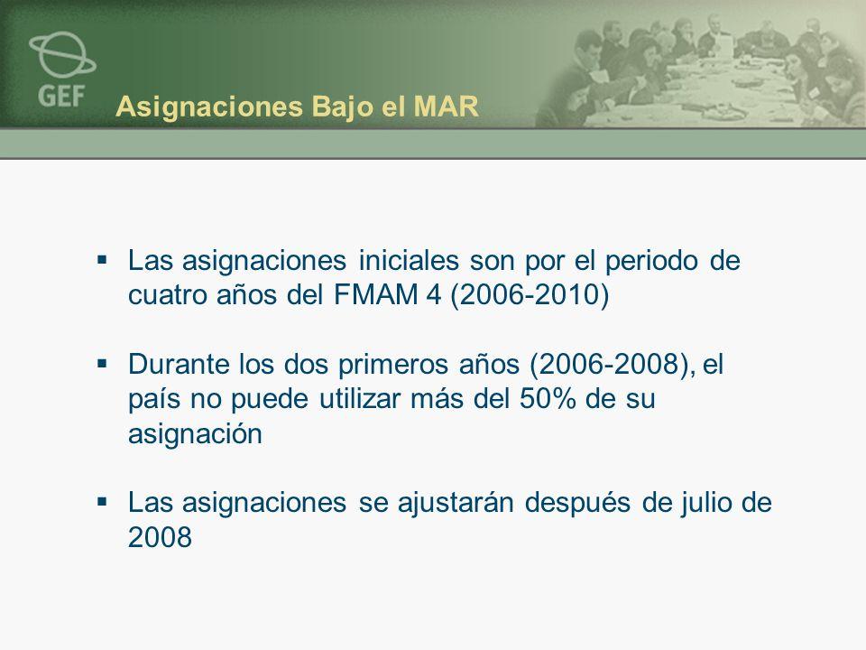 Asignaciones Bajo el MAR Las asignaciones iniciales son por el periodo de cuatro años del FMAM 4 (2006-2010) Durante los dos primeros años (2006-2008), el país no puede utilizar más del 50% de su asignación Las asignaciones se ajustarán después de julio de 2008