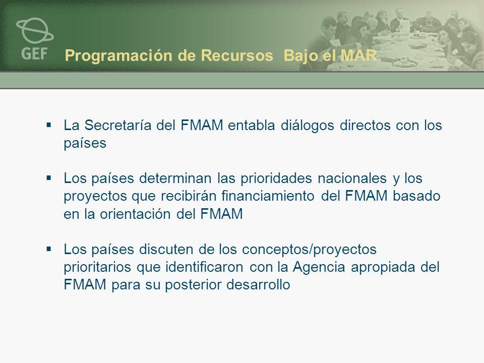 Programación de Recursos Bajo el MAR La Secretaría del FMAM entabla diálogos directos con los países Los países determinan las prioridades nacionales y los proyectos que recibirán financiamiento del FMAM basado en la orientación del FMAM Los países discuten de los conceptos/proyectos prioritarios que identificaron con la Agencia apropiada del FMAM para su posterior desarrollo