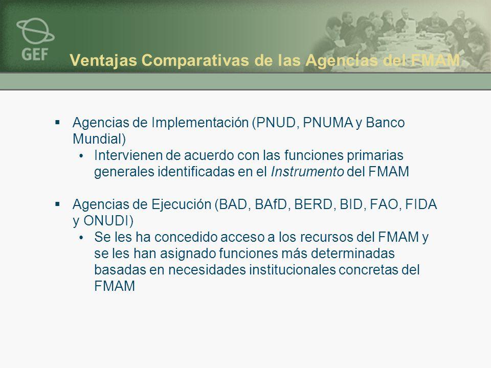 Ventajas Comparativas de las Agencias del FMAM Agencias de Implementación (PNUD, PNUMA y Banco Mundial) Intervienen de acuerdo con las funciones primarias generales identificadas en el Instrumento del FMAM Agencias de Ejecución (BAD, BAfD, BERD, BID, FAO, FIDA y ONUDI) Se les ha concedido acceso a los recursos del FMAM y se les han asignado funciones más determinadas basadas en necesidades institucionales concretas del FMAM