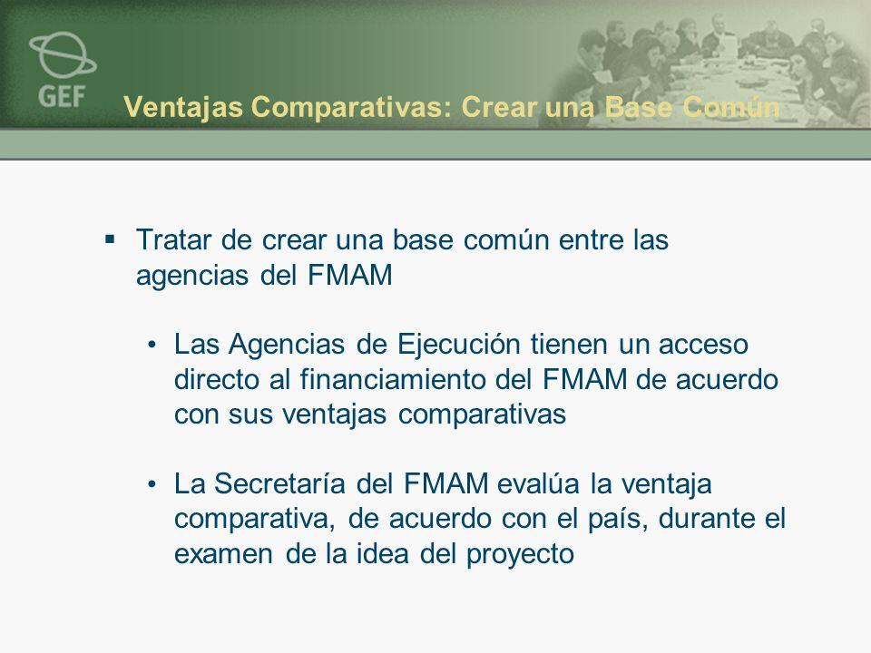 Ventajas Comparativas: Crear una Base Común Tratar de crear una base común entre las agencias del FMAM Las Agencias de Ejecución tienen un acceso dire
