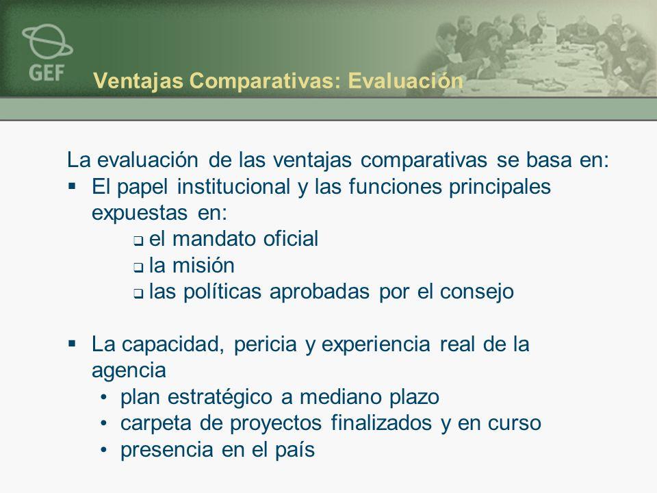 Ventajas Comparativas: Evaluación La evaluación de las ventajas comparativas se basa en: El papel institucional y las funciones principales expuestas