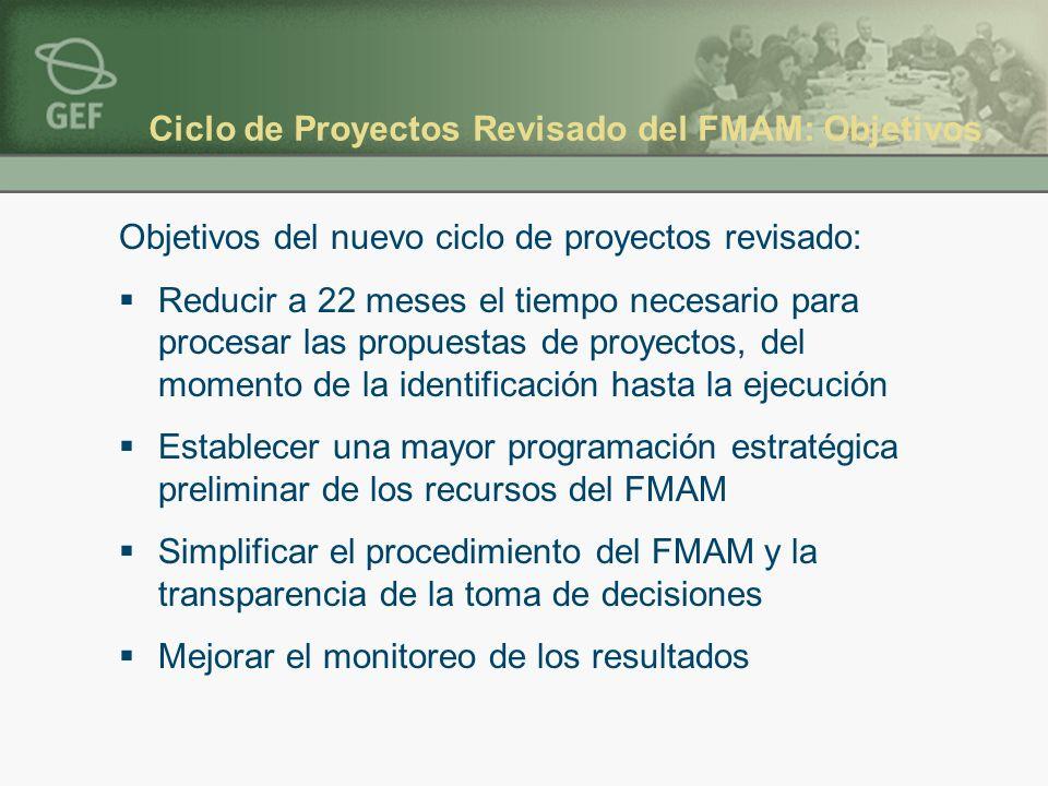 Ciclo de Proyectos Revisado del FMAM: Objetivos Objetivos del nuevo ciclo de proyectos revisado: Reducir a 22 meses el tiempo necesario para procesar