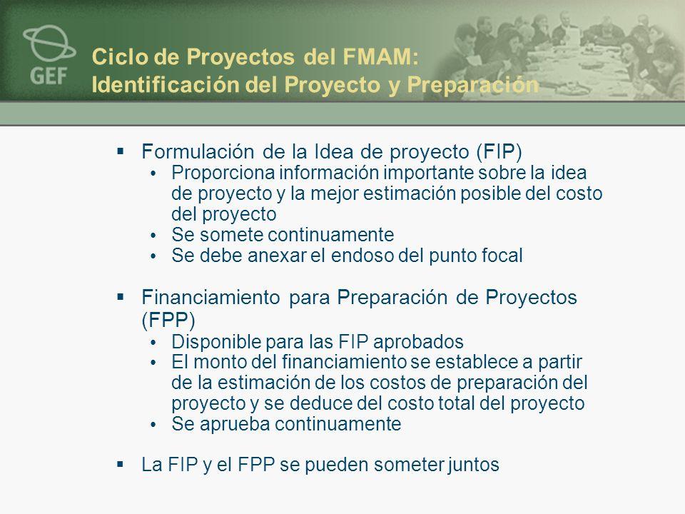 Ciclo de Proyectos del FMAM: Identificación del Proyecto y Preparación Formulación de la Idea de proyecto (FIP) Proporciona información importante sob