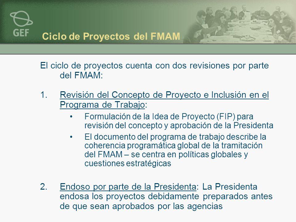 Ciclo de Proyectos del FMAM El ciclo de proyectos cuenta con dos revisiones por parte del FMAM: 1.Revisión del Concepto de Proyecto e Inclusión en el Programa de Trabajo: Formulación de la Idea de Proyecto (FIP) para revisión del concepto y aprobación de la Presidenta El documento del programa de trabajo describe la coherencia programática global de la tramitación del FMAM – se centra en políticas globales y cuestiones estratégicas 2.Endoso por parte de la Presidenta: La Presidenta endosa los proyectos debidamente preparados antes de que sean aprobados por las agencias