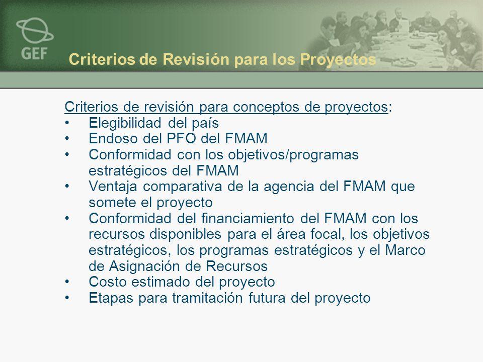 Criterios de Revisión para los Proyectos Criterios de revisión para conceptos de proyectos: Elegibilidad del país Endoso del PFO del FMAM Conformidad