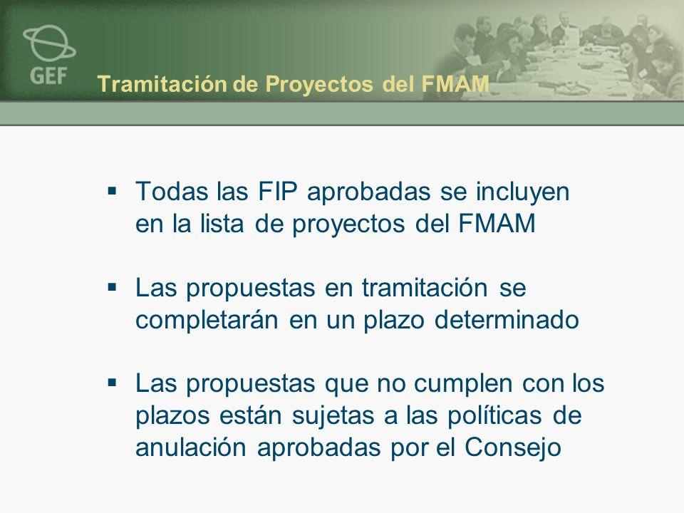 Tramitación de Proyectos del FMAM Todas las FIP aprobadas se incluyen en la lista de proyectos del FMAM Las propuestas en tramitación se completarán en un plazo determinado Las propuestas que no cumplen con los plazos están sujetas a las políticas de anulación aprobadas por el Consejo