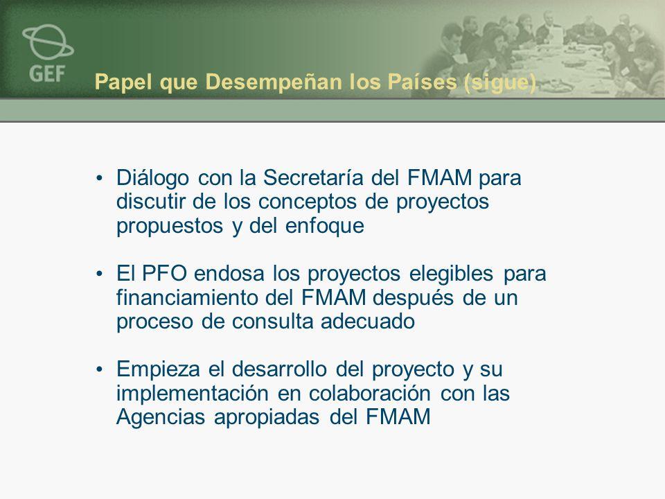 Papel que Desempeñan los Países (sigue) Diálogo con la Secretaría del FMAM para discutir de los conceptos de proyectos propuestos y del enfoque El PFO endosa los proyectos elegibles para financiamiento del FMAM después de un proceso de consulta adecuado Empieza el desarrollo del proyecto y su implementación en colaboración con las Agencias apropiadas del FMAM