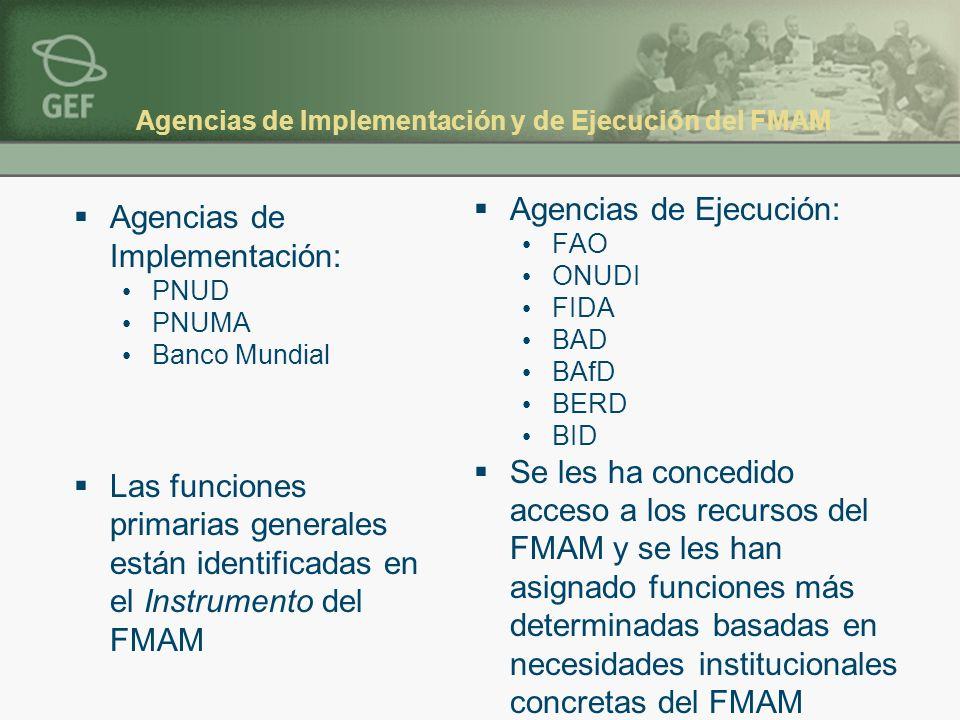 Agencias de Implementación y de Ejecución del FMAM Agencias de Implementación: PNUD PNUMA Banco Mundial Las funciones primarias generales están identi