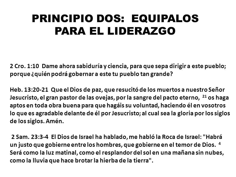 PRINCIPIO DOS: EQUIPALOS PARA EL LIDERAZGO 2 Cro. 1:10 Dame ahora sabiduría y ciencia, para que sepa dirigir a este pueblo; porque ¿quién podrá gobern