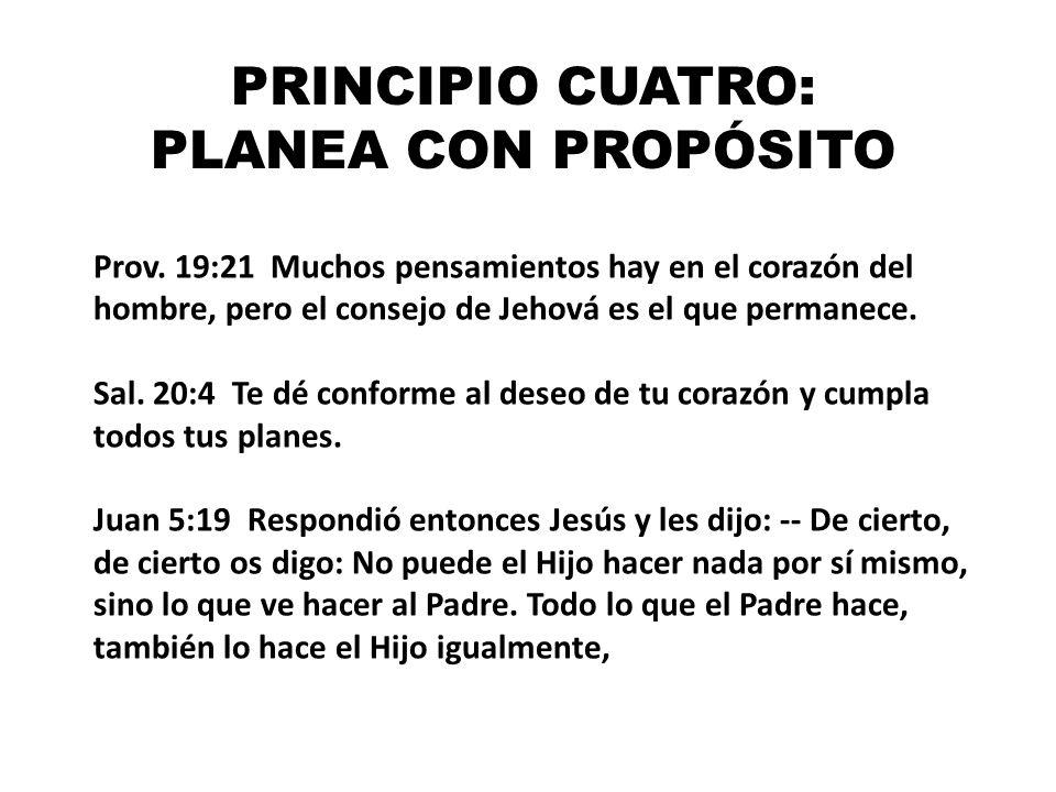 PRINCIPIO CUATRO: PLANEA CON PROPÓSITO Prov. 19:21 Muchos pensamientos hay en el corazón del hombre, pero el consejo de Jehová es el que permanece. Sa
