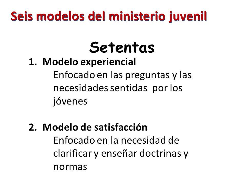 Setentas 1.Modelo experiencial Enfocado en las preguntas y las necesidades sentidas por los jóvenes 2.Modelo de satisfacción Enfocado en la necesidad