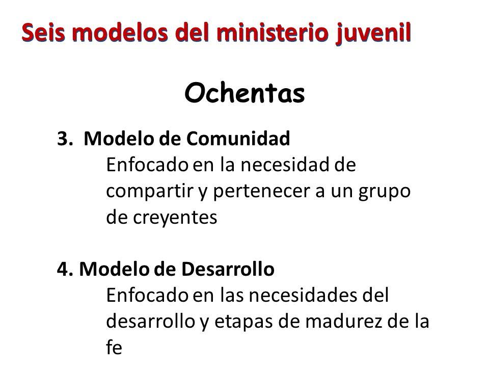 Ochentas 3. Modelo de Comunidad Enfocado en la necesidad de compartir y pertenecer a un grupo de creyentes 4. Modelo de Desarrollo Enfocado en las nec