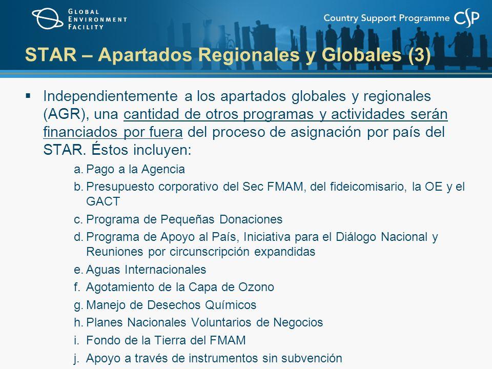 STAR – Apartados Regionales y Globales (3) Independientemente a los apartados globales y regionales (AGR), una cantidad de otros programas y actividades serán financiados por fuera del proceso de asignación por país del STAR.